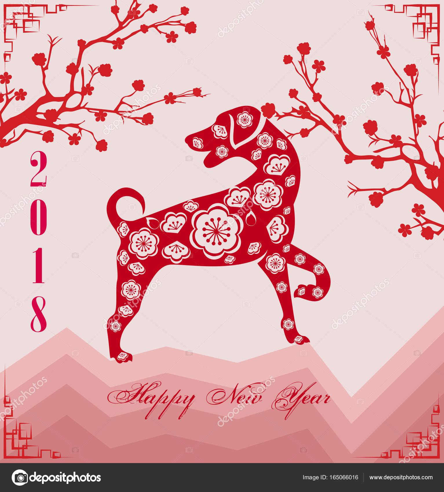 happy new year 2018 year of the dog chinese new year lunar new year vector by tieulong
