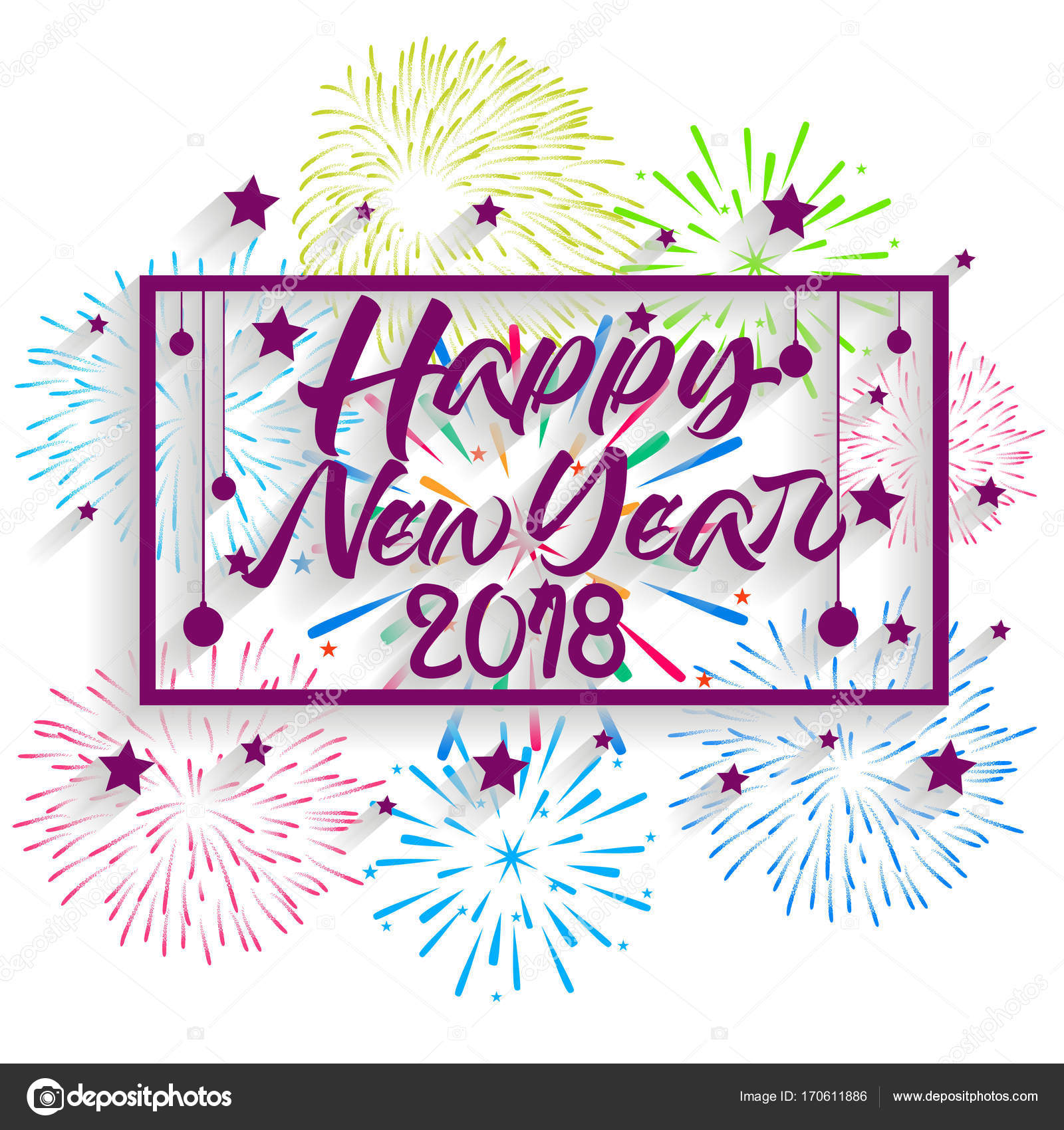 happy new year 2018 christmas hand calligraphy typography and fireworks stock vector