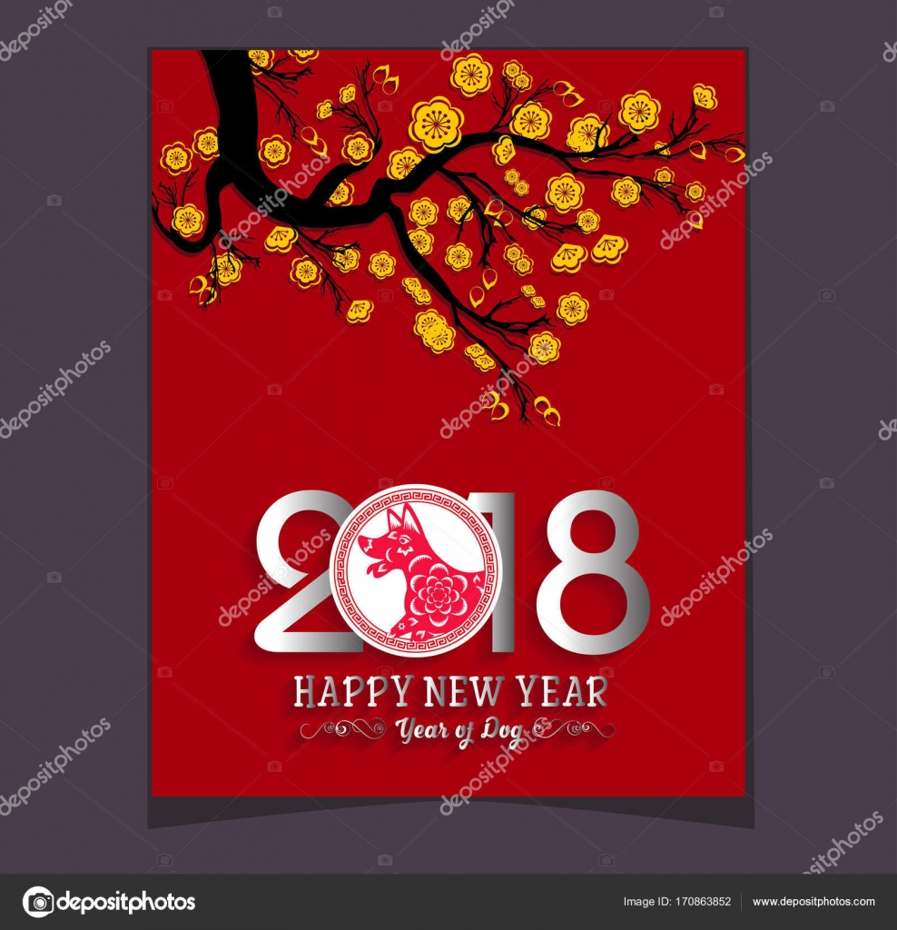 Happy Chinese New Year 2018 Jahr des Hundes. Mond-Neujahr ...