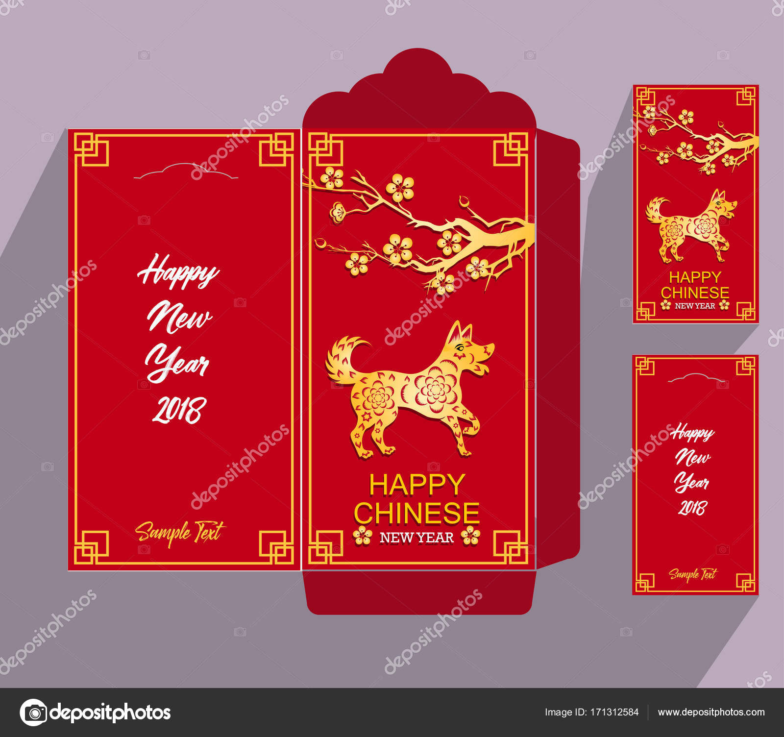 chinese new year red envelope flat icon year of the dog 2018 stock vector - Chinese New Year Red Envelope