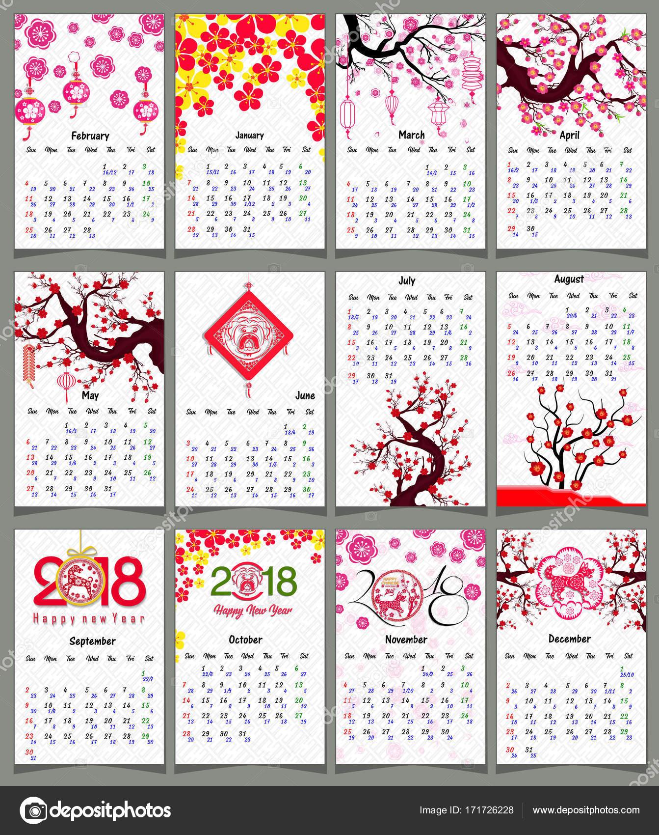Calendario Chino.Calendario Lunar Calendario Chino Para El Ano 2018 Del