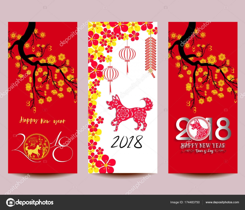 Happy Chinese New Year 2018 year of the dog. Lunar new ...