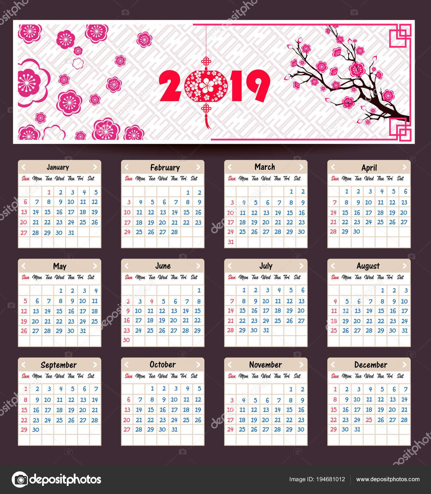 kalender 2019 chinesischen kalender f r gl ckliches neues. Black Bedroom Furniture Sets. Home Design Ideas