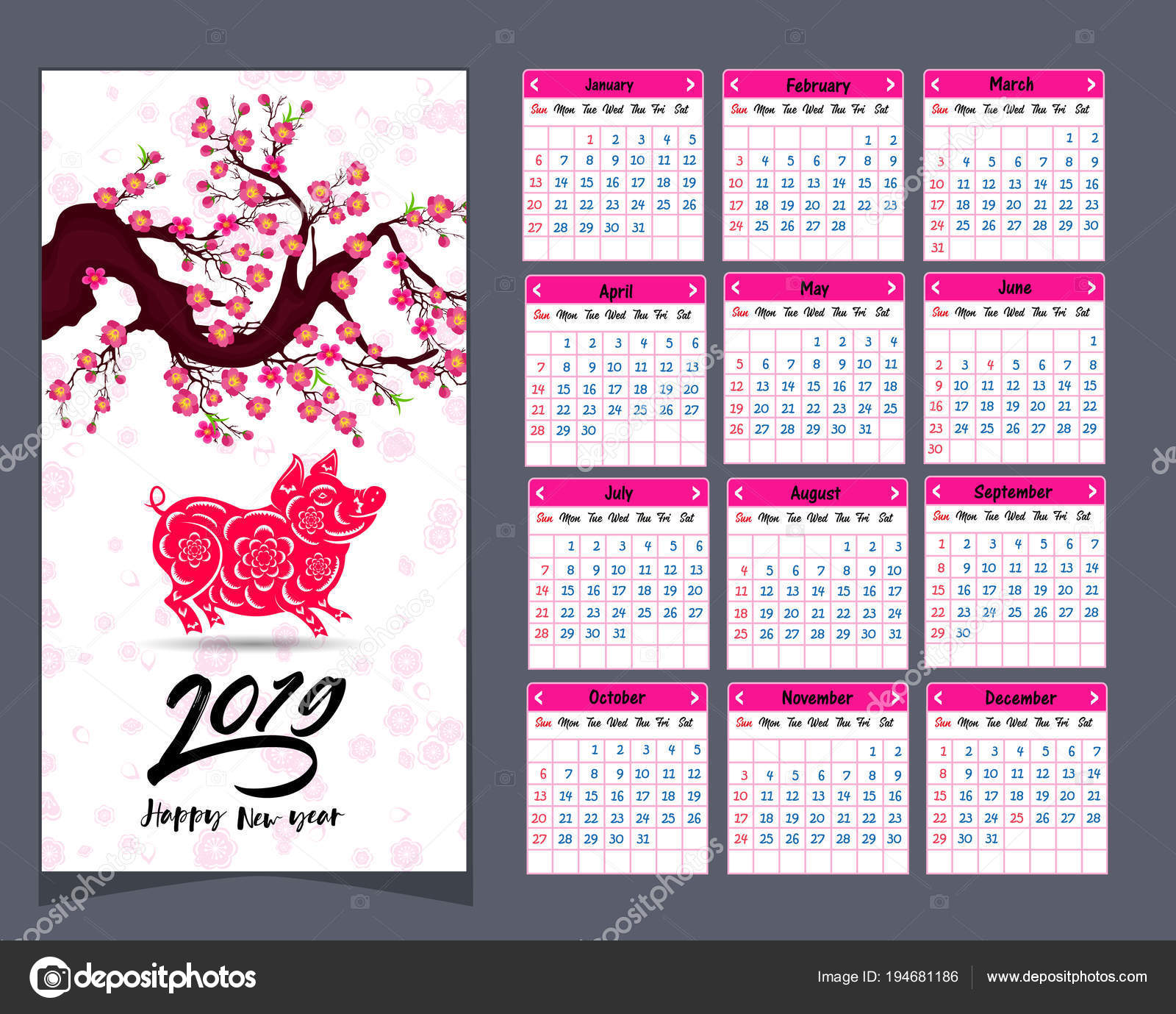 calendar 2019 chinese calendar for happy new year 2019 year of the pig vector by tieulong