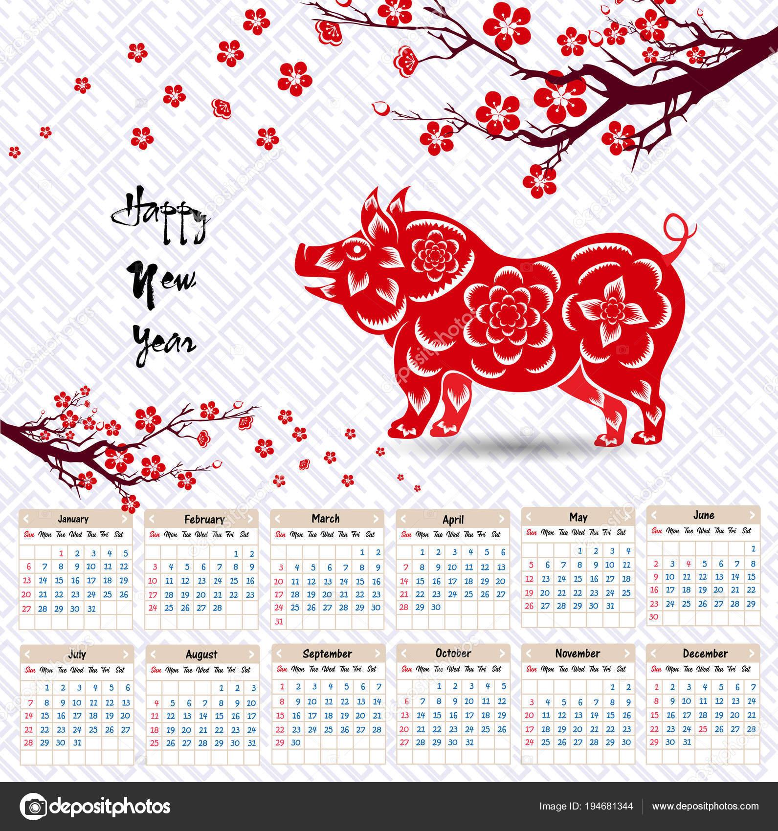 Anno Calendario Cinese.Calendario 2019 Calendario Cinese Felice Nuovo Anno 2019