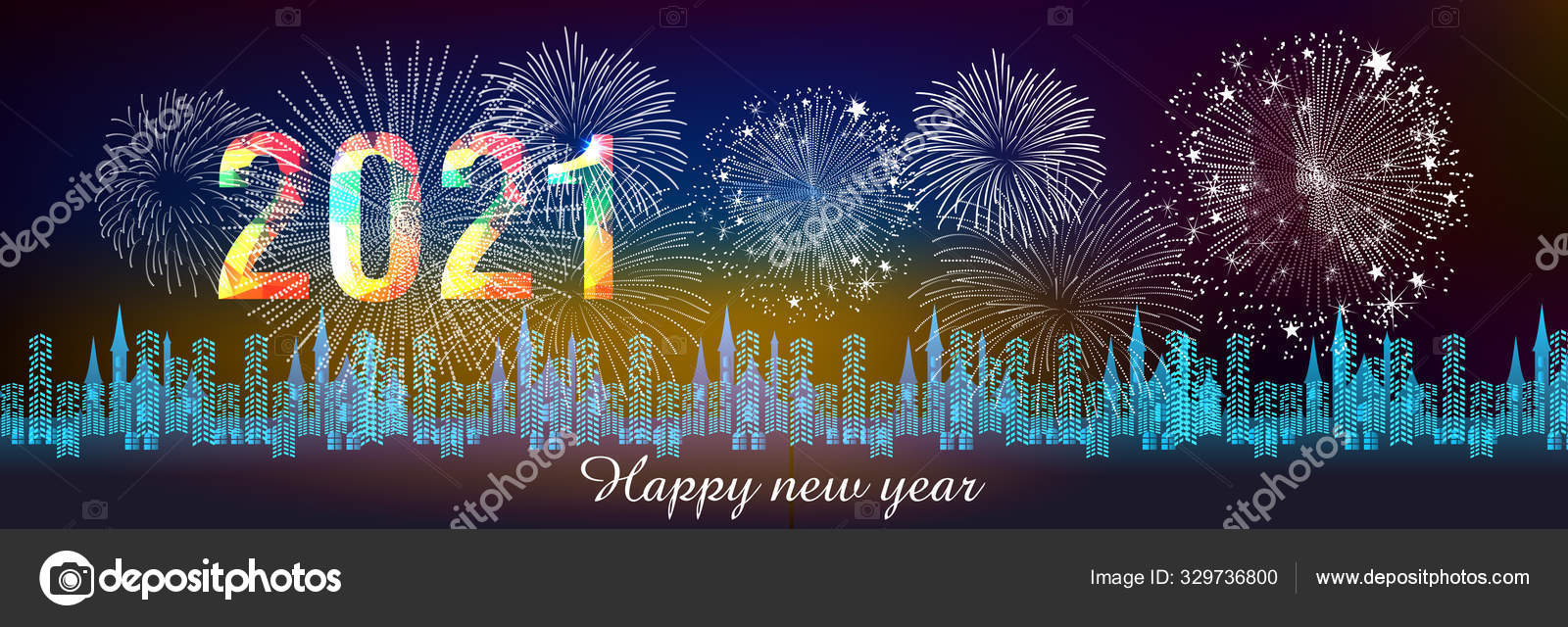 Happy new year 11 with firework background. Firework display colorful for  holidays. 11