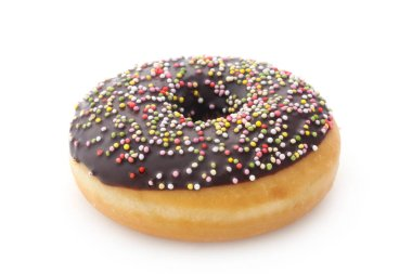 colorful chocolate donut on white background.