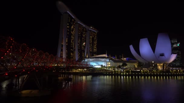 SINGAPORE - February 25, 2020: Quiet and relaxed night views from the Marina Bay Sands, Helix Bridge  Art Science Museum