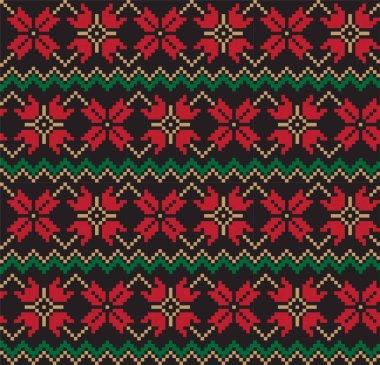 Christmas Fair Isle Floral Seamless Pattern