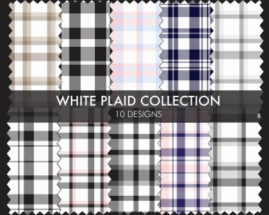 White Plaid, checkered, tartan seamless pattern collection includes 10 designs suitable for fashion textiles and graphics