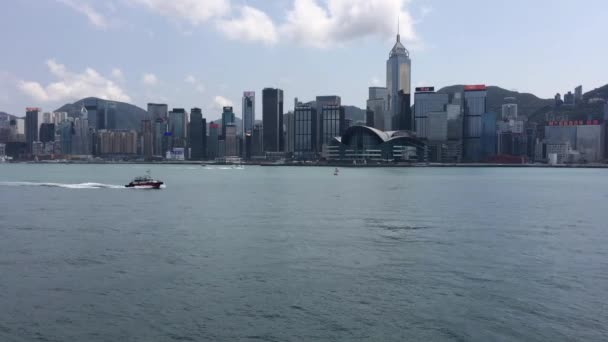 Hong Kong/China Mar 22 2020 : Ferries, sails, boats in Victoria Harbour, Hong Kong viewing from Tsim Sha Tsui