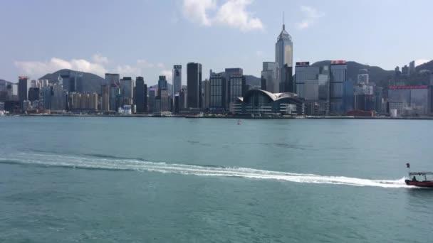 Hong Kong/China Mar 22 2020 : Ferries, sails, boats in Victoria Harbour, Hong Kong viewing from Tsim Sha Tsui