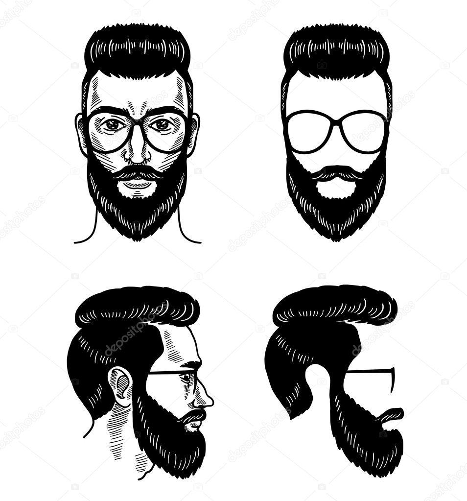 Vektor Vorlage für Barbershop Bart Brille Gesicht Schnurrbart ...
