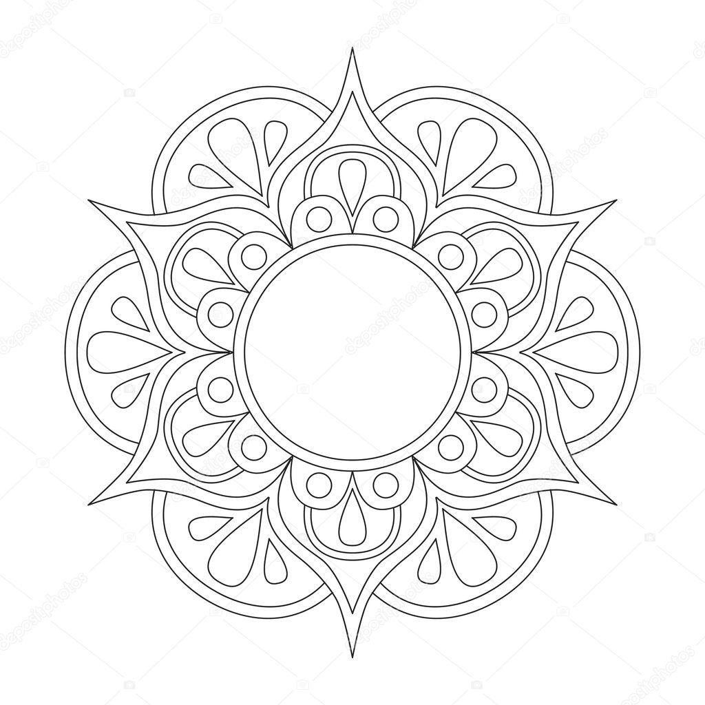 Mandala Boyama Kitabı Için Anahat Anti Stres Terapisi Desen