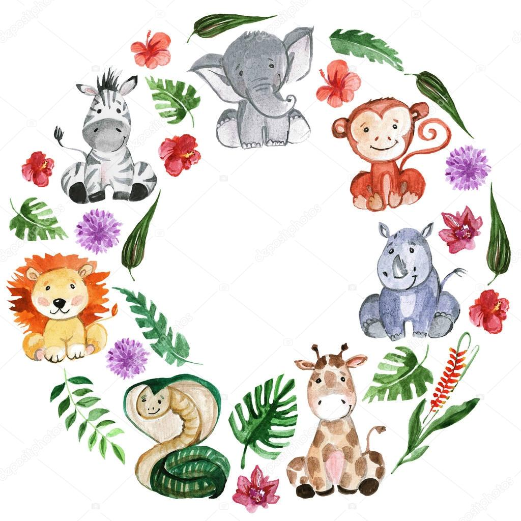 Watercolor jungle friends Animals, africa, tropical leaves