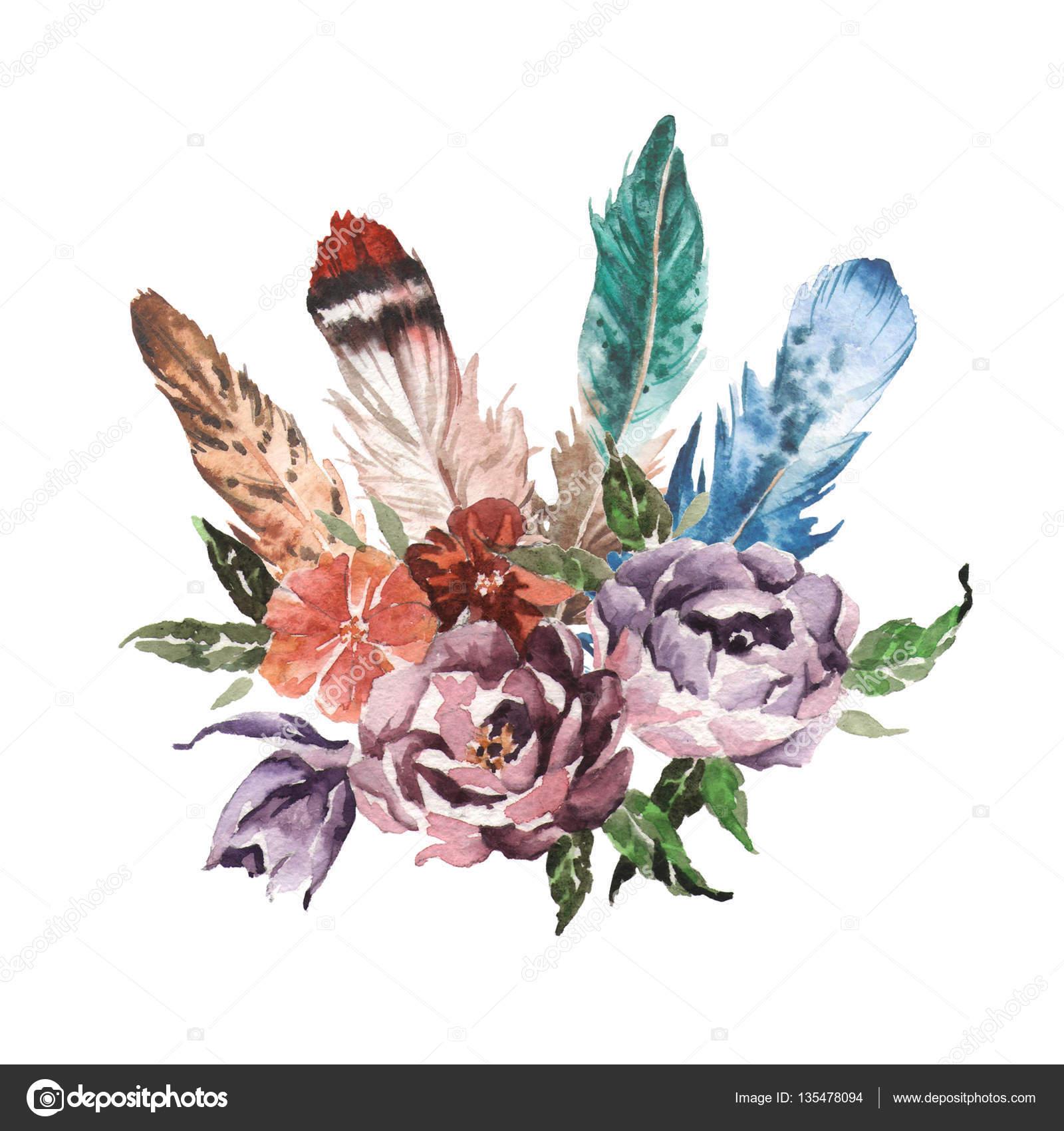 Flores, Penas, Animais Elementos De Imagem Aquarela Boho