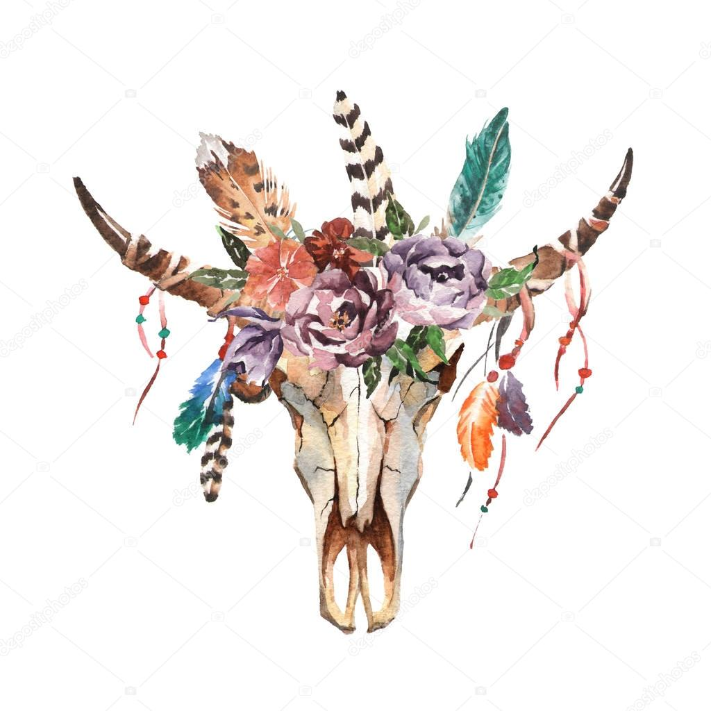 Watercolor boho chic image Flowers, feathers, animal elements