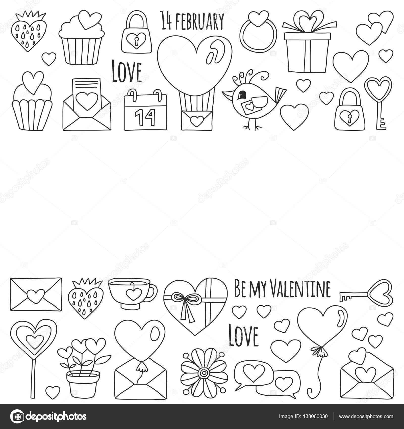 Sevgililer Günü Vektör Desen Kalp Pasta Balon Davetiyeler Boyama