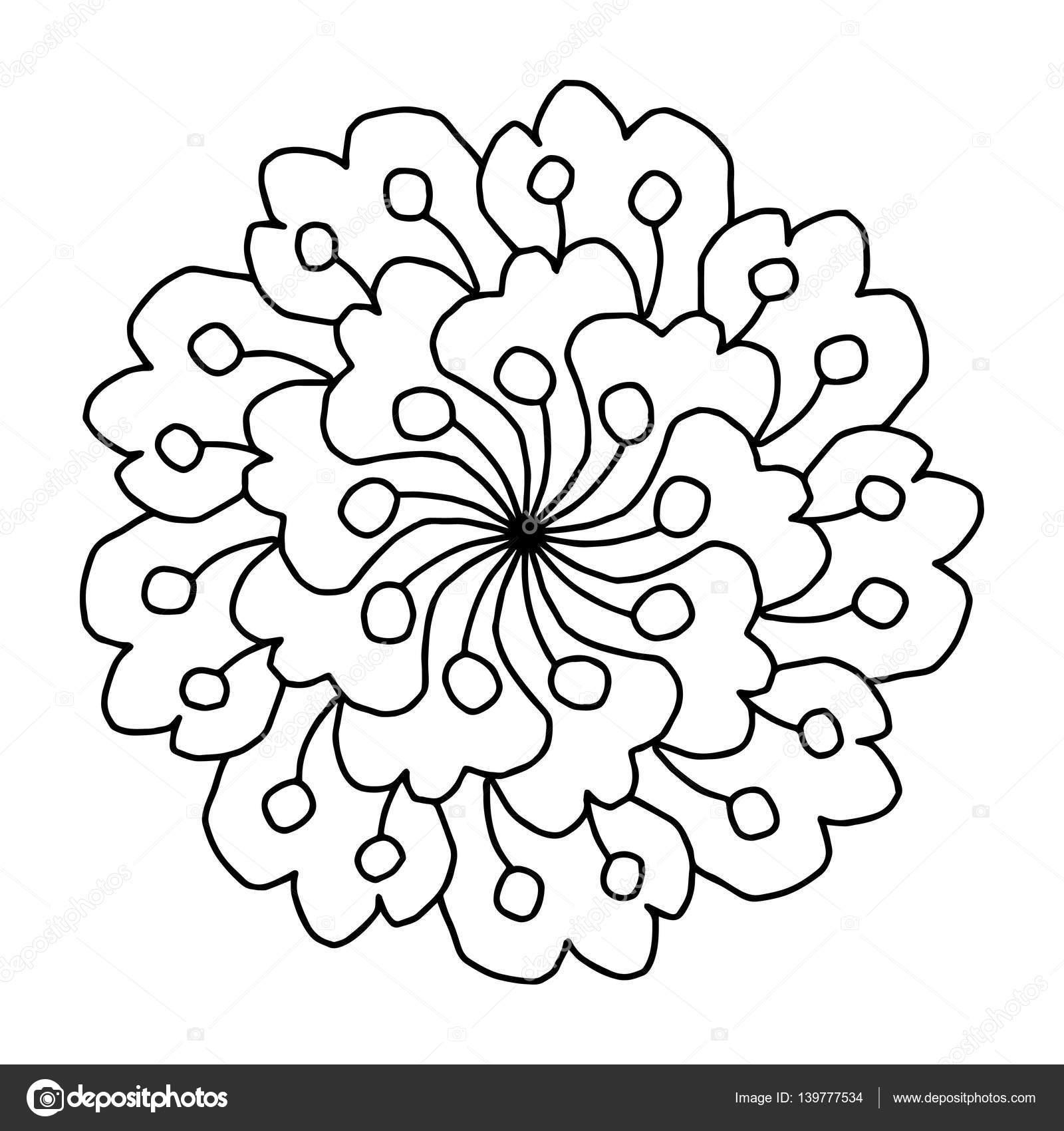 Doodle flores de libros para colorear — Archivo Imágenes Vectoriales ...