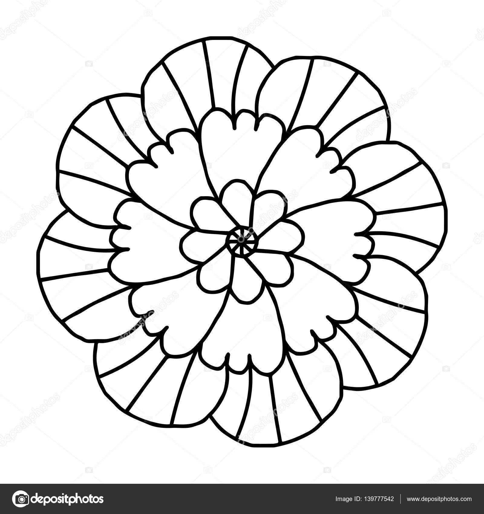 çiçek Boyama Kitapları Için Doodle Stok Vektör Helenf 139777542