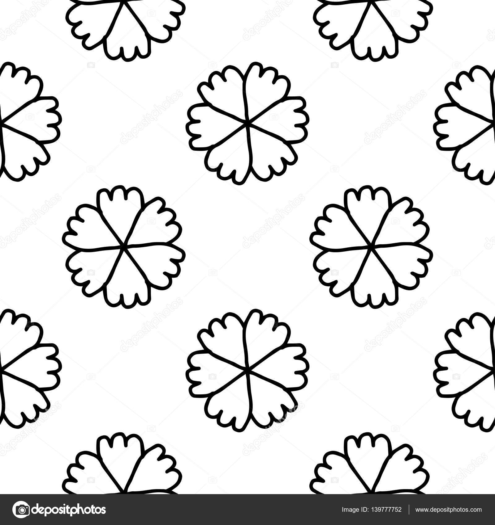 Coloring Book Doodle Vector Flowers Pattern Stock Vector