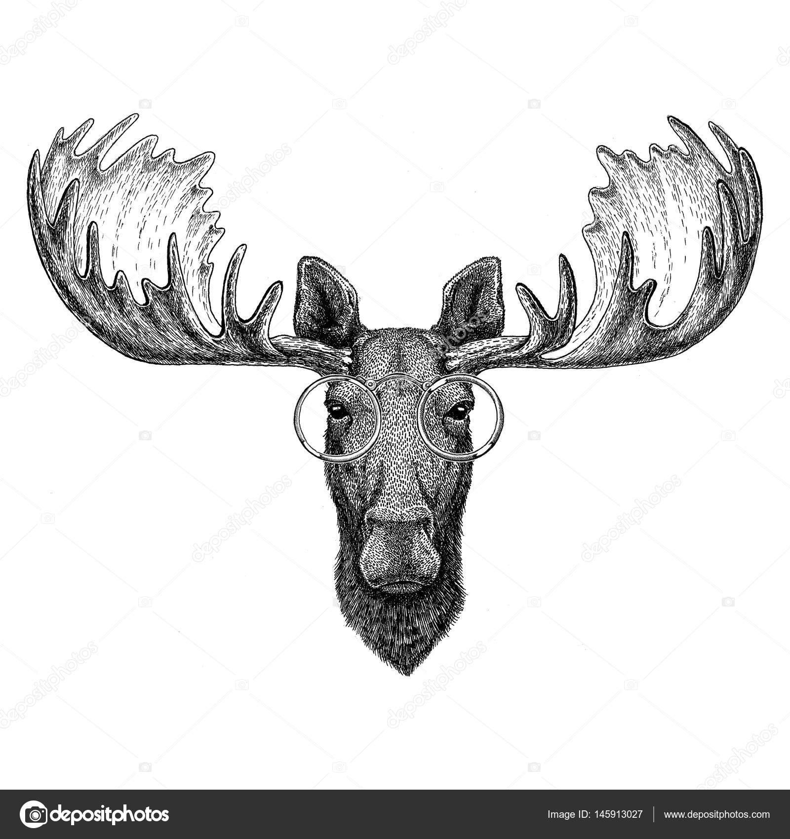Hipster łoś łoś W Okularach Obrazu Dla Tatuaż Logo Godło Odznaka