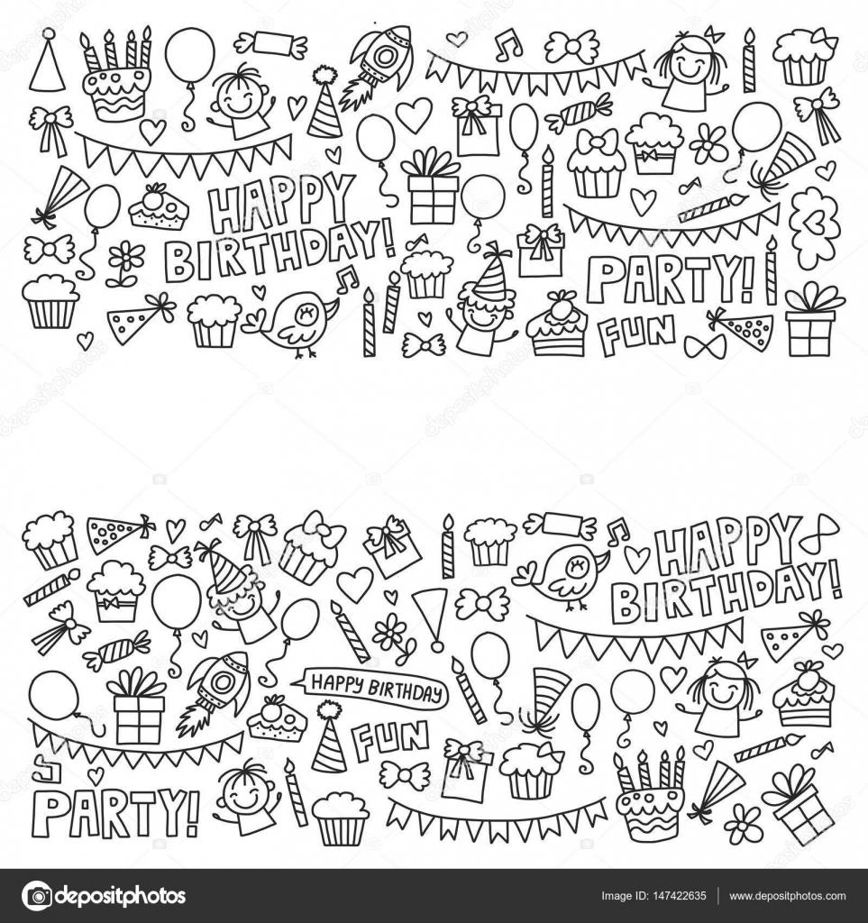 Vector niños partido página para colorear iconos de cumpleaños de ...