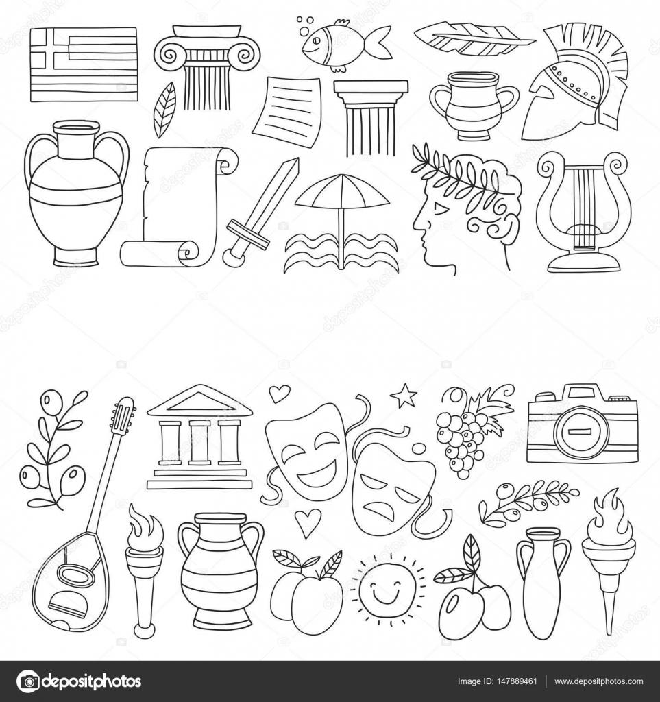 греческие вазы раскраска древней греции векторные элементы