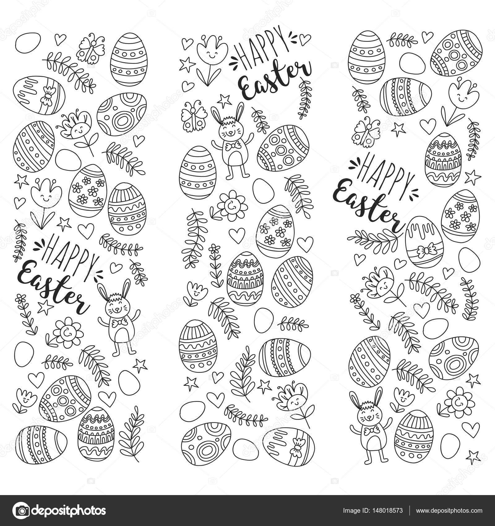 Vektormuster für Ostereier, Blumen, Hase-Frohe Ostern Muster ...