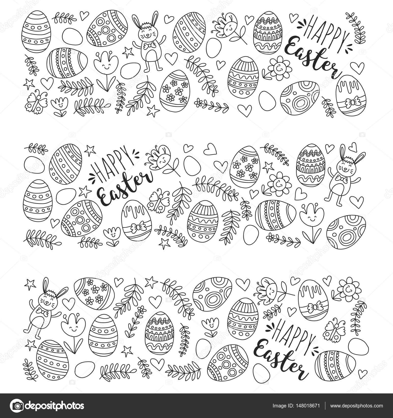 Vektormuster Für Ostereier Blumen Hase Frohe Ostern Muster