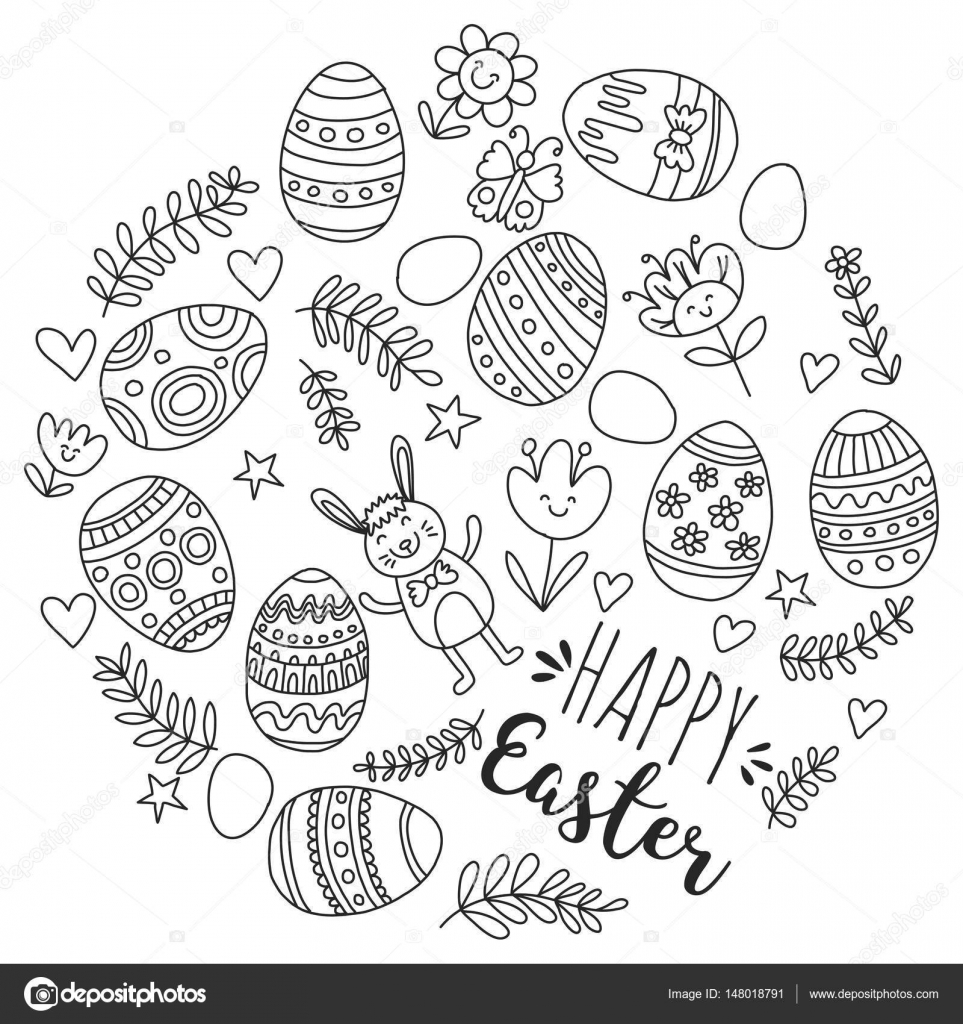 feliz pascua coloring pages | Vector pattern for Easter Eggs, flowers, bunny Happy ...