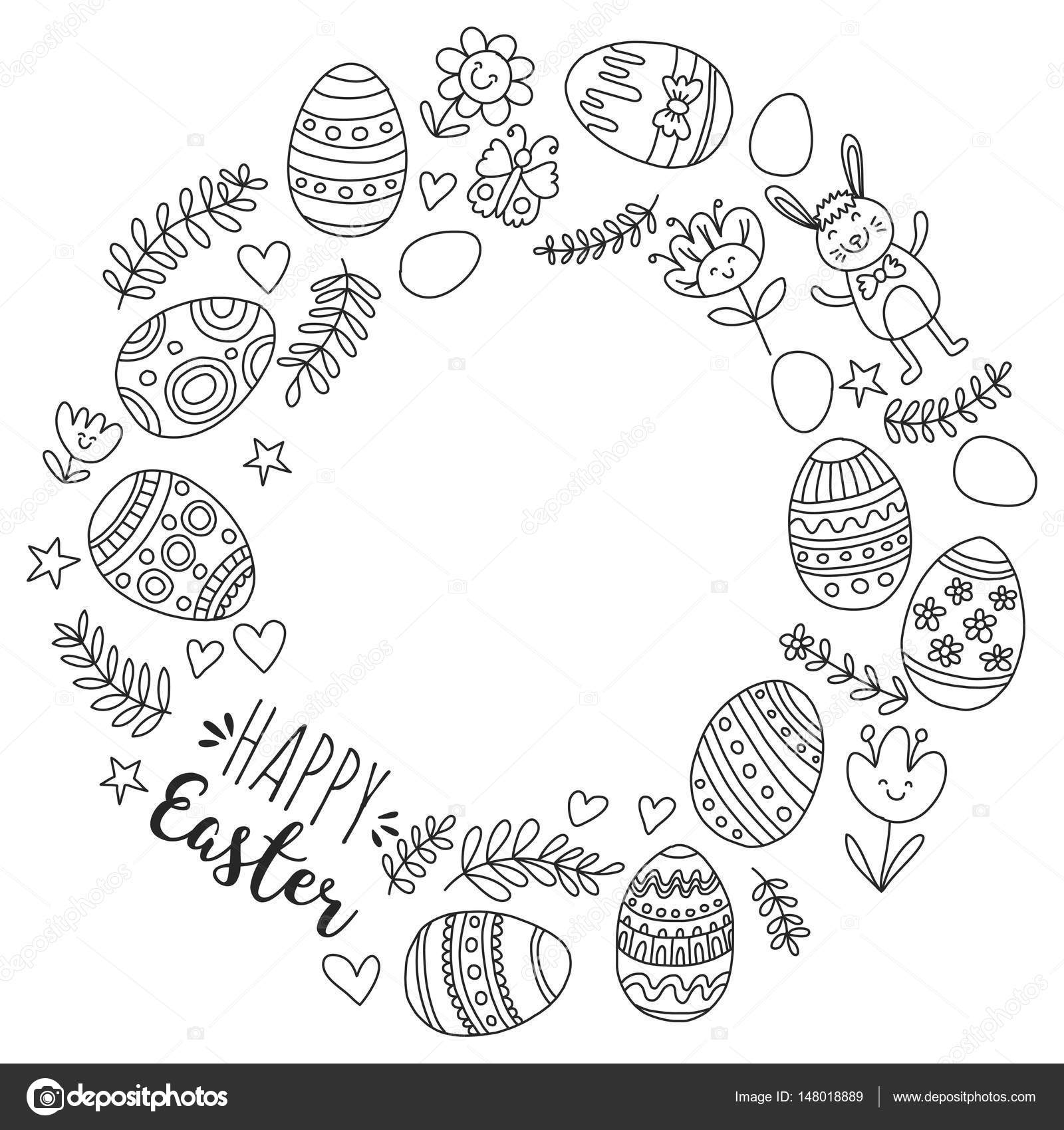 Vector pattern for Easter Eggs, flowers, bunny Happy easter pattern ...