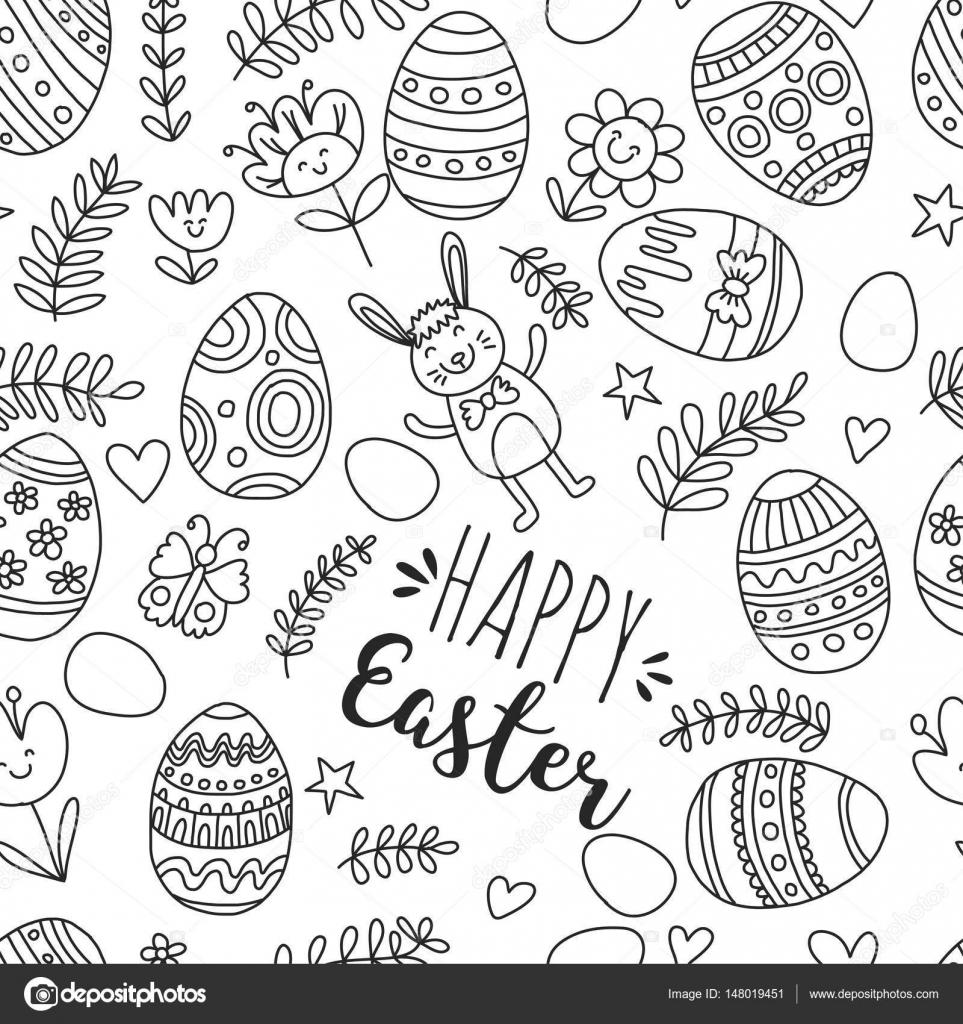 Kleurplaat Pagina Naadloze Patroon Voor Paaseieren Bloemen Bunny
