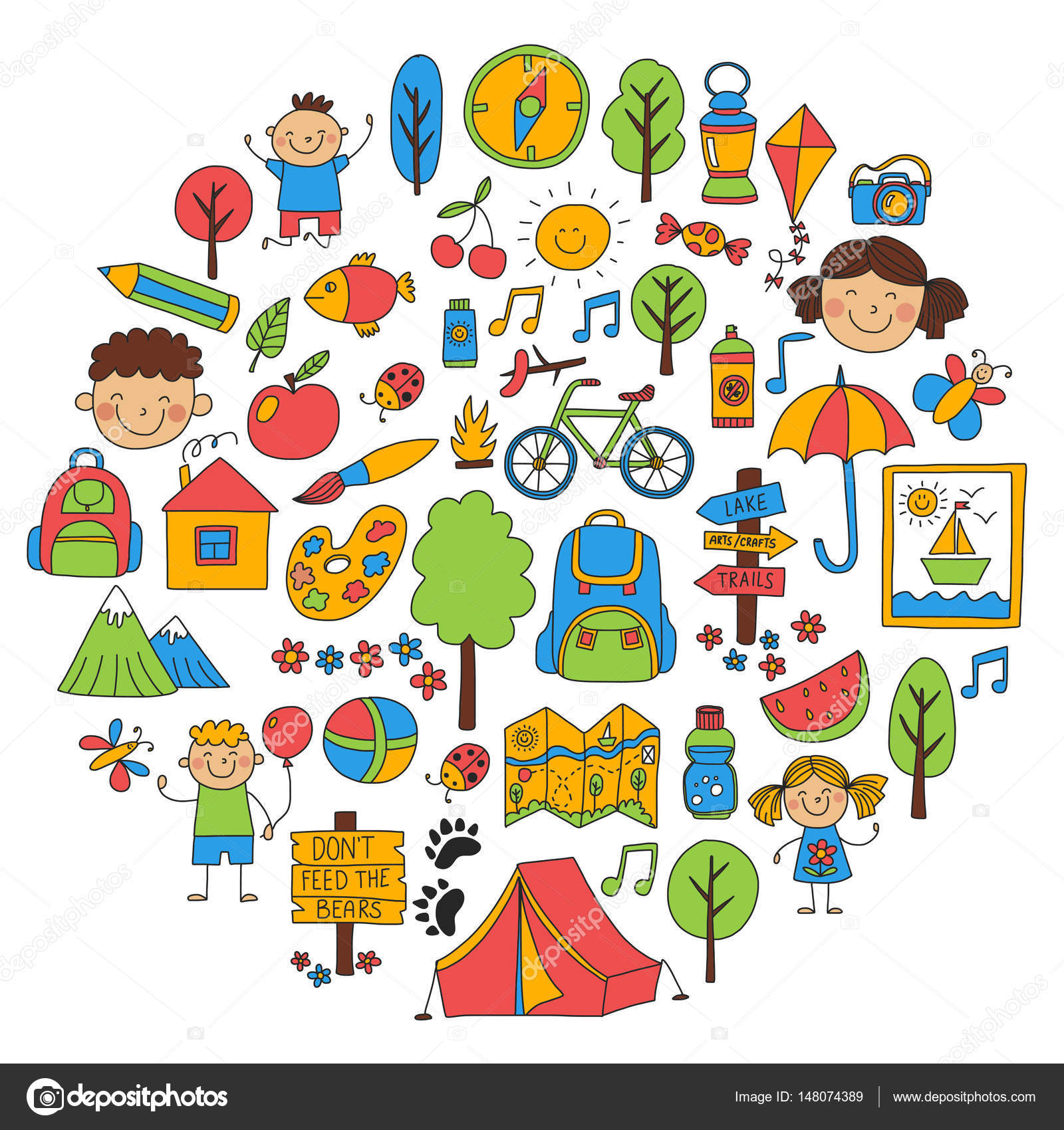 Summer camp children kids camping children plays hiking for Do kids need a fishing license