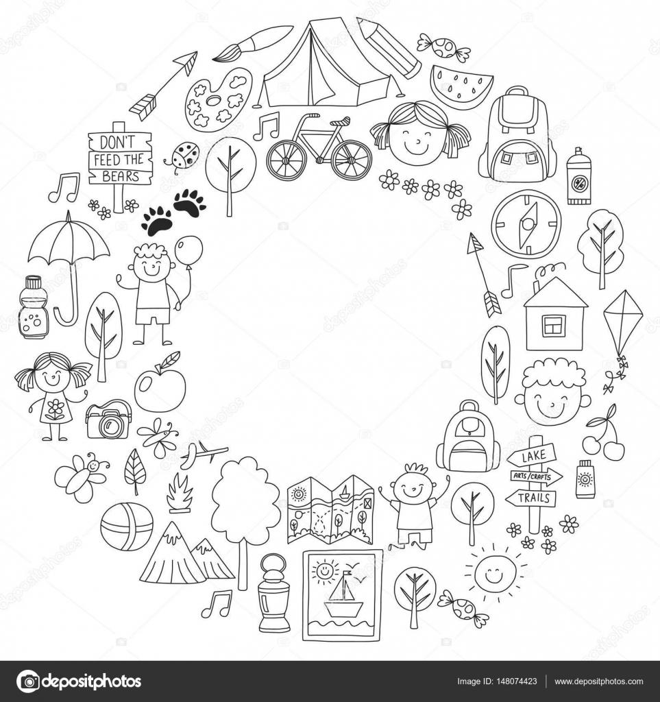 Imágenes Niños En Campamento Para Colorear Verano Campamento De