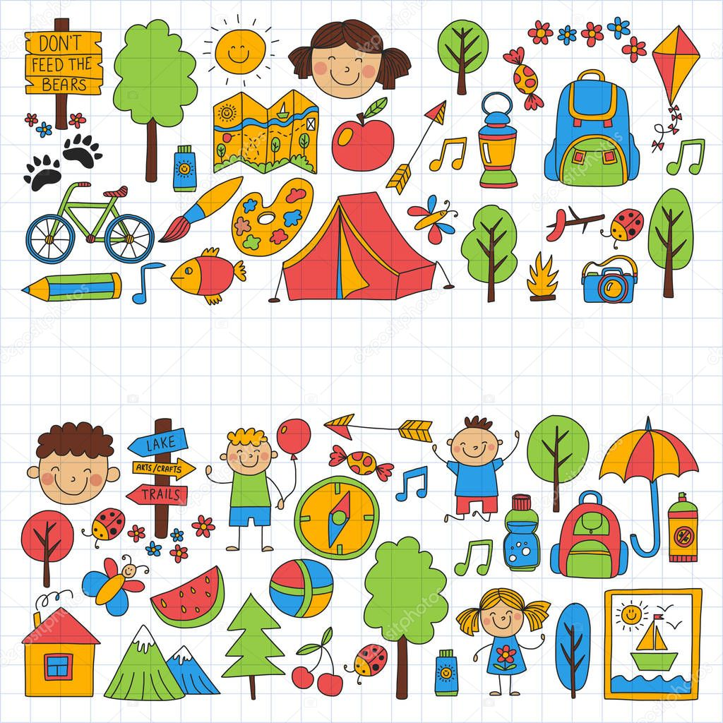 Summer camp Children, kids camping Children plays, hiking, singing, fishing, walking, drawing, having fun After school summer advetures