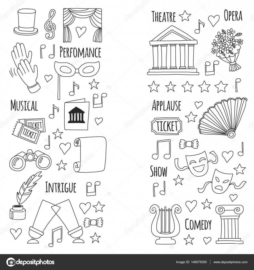 Imágenes Teatro Para Colorear Dibujado A Mano Doodle Teatro