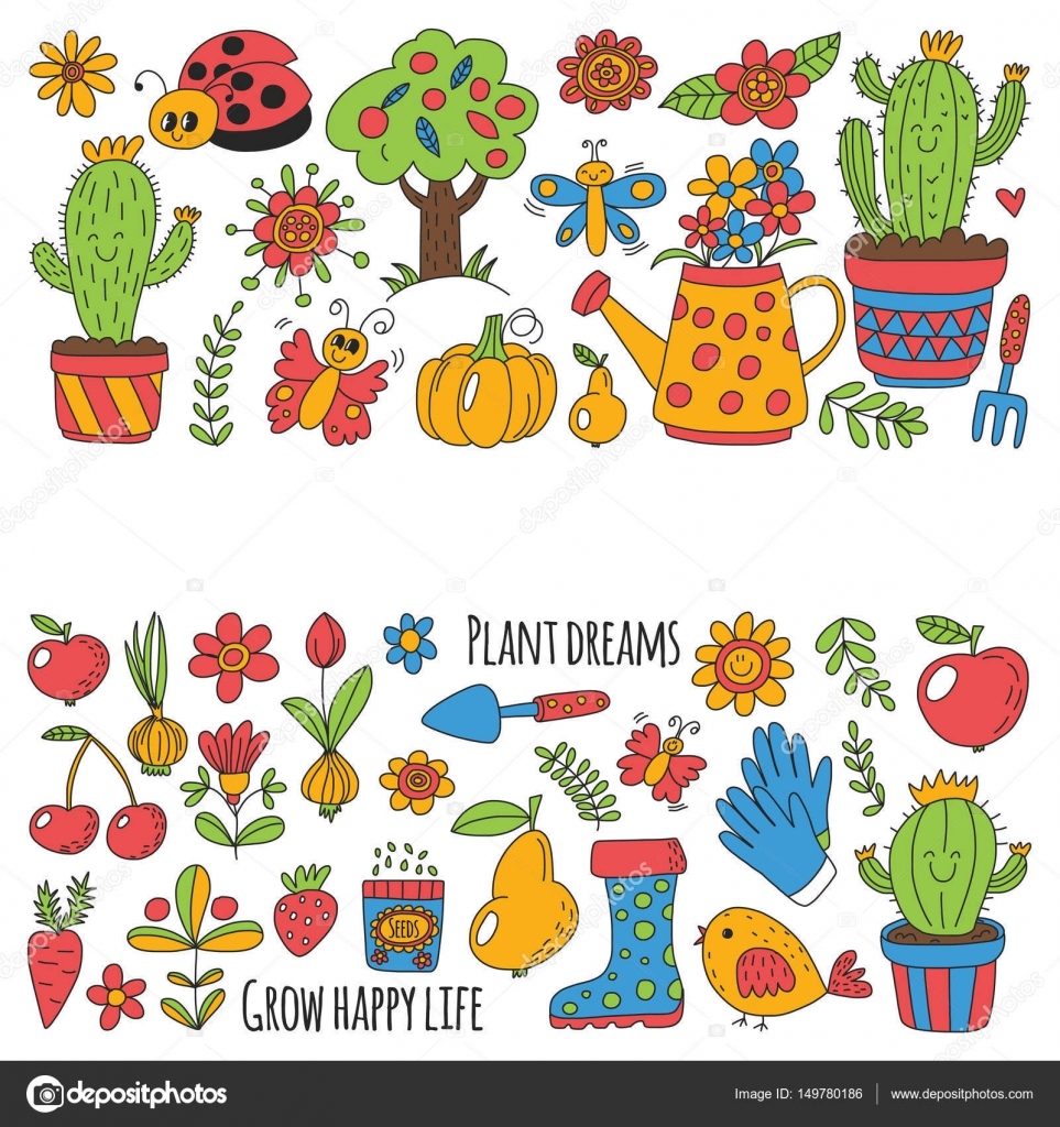 Cute Vector Garden With Birds, Cactus, Plants, Fruits, Berries, Gardening  Tools, Rubberboots Garden Market Pattern In Doodle Style Hand Drawn Image U2014  Vector ...