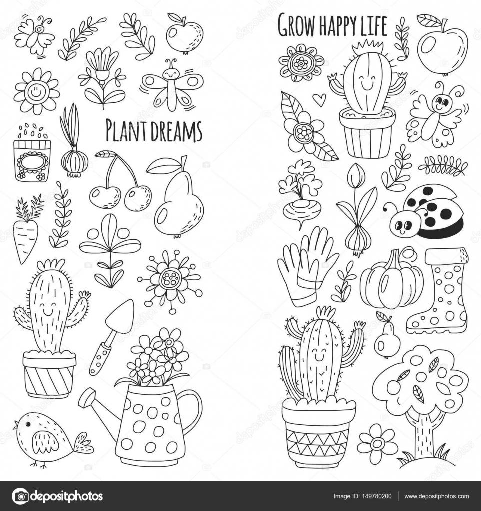 Jardín de vector lindo con aves, cactus, plantas, frutas, bayas ...