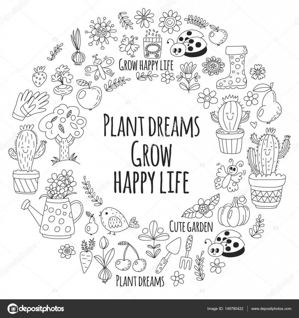 Niedliche Vektor Garten mit Vögel, Kakteen, Pflanzen, Früchte ...