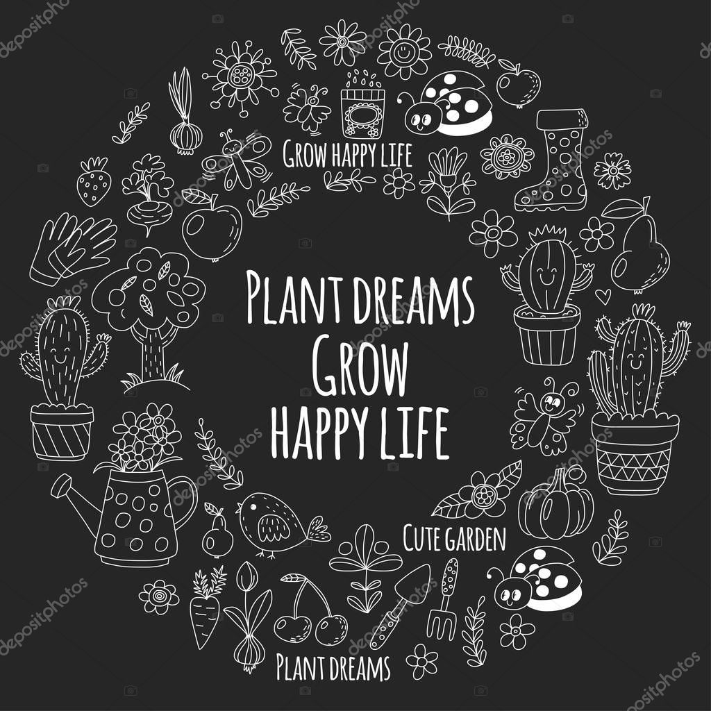 Cute vector garden with birds, cactus, plants, fruits, berries, gardening tools, rubberboots Garden market pattern in doodle style isolated on blackboard