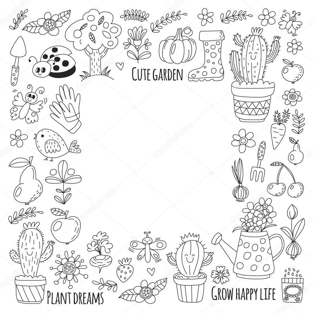 Tuingereedschap Kleurplaat Schattig Vector Tuin Met Vogels Cactus Planten Vruchten