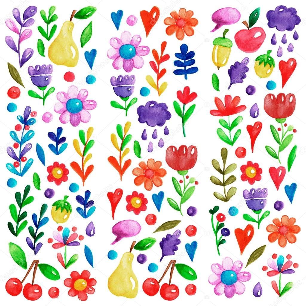 Cute garden flower and plants with fruits and berries For invitation, kindergarten, wedding invitations, nursery, posters, banners, covers, books, textbooks, notepads