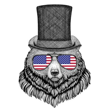 Grizzly bear Big wild bear wearing cylinder top hat and glasses with usa flag United states of America flag