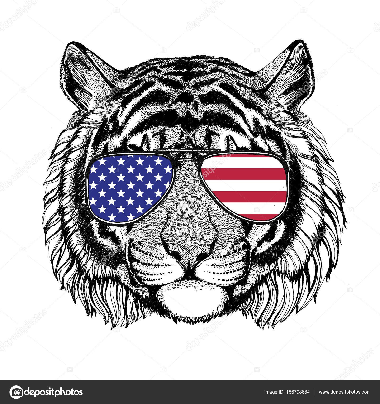 Dziki Tygrys Ręcznie Rysowane Ilustracja Na Tatuaż Godło Odznaka
