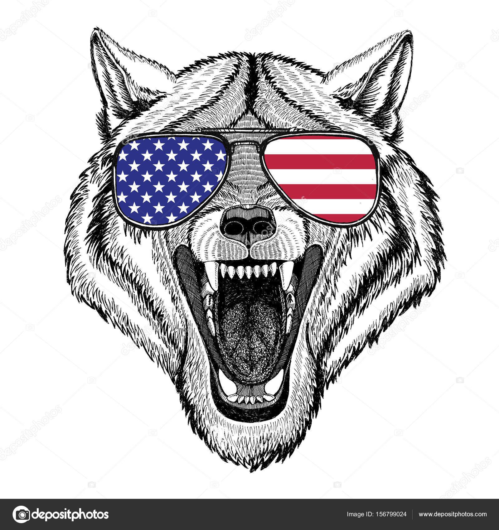 Wilk Pies Dzikich Zwierząt Ilustracja Dla Tatuaż Godło Zdjęcie