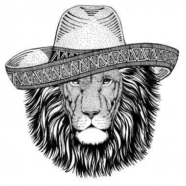 Wild Lion Wild animal wearing sombrero Mexico Fiesta Mexican party illustration Wild west