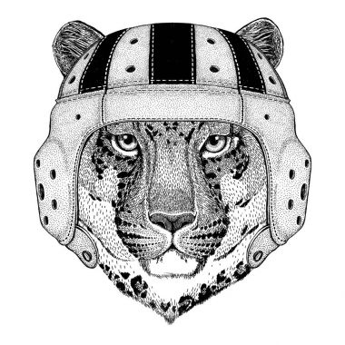 Wild cat Leopard Cat-o-mountain Panther Wild animal wearing rugby helmet Sport illustration
