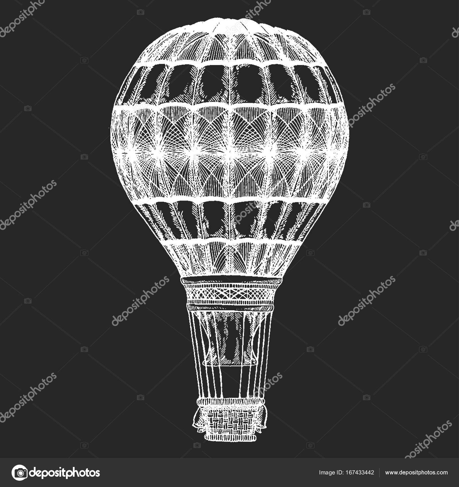 Logo template Vintage balloon Vector image on blackboard Chalk ...