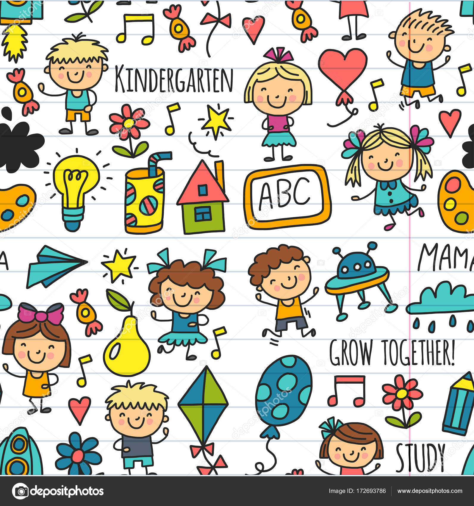 De Patrones Sin Fisuras Los Ninos Dibujo A Ninos Kinder Escuela
